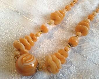 Vintage Art Deco, Glass Bead Necklace, Orange, Tangerine Colour.
