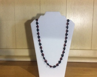 Red & Black Woven Necklace