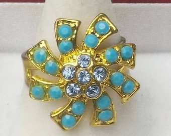 1960's Vintage Turquoise Blue And Pale Blue Rhinestone Swirl Adjustable Mid Century Costume Jewelry Ring Gift For Her on Etsy Best Deal