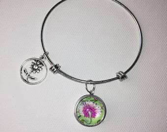 Flower Snap button jewelry Bangle Bracelet
