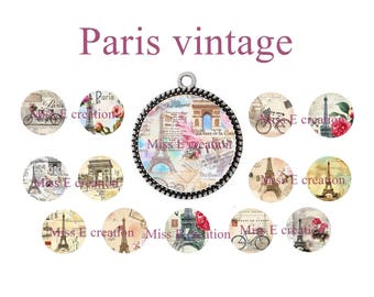 Santa Claus digital images for cabochon 25mm and 20mm and 18mm, vintage eiffel tower paris