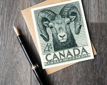 big horn sheep birthday card, vintage sheep art, canada sheep retirement card, vintage canada stamp art, canada animal print set, print