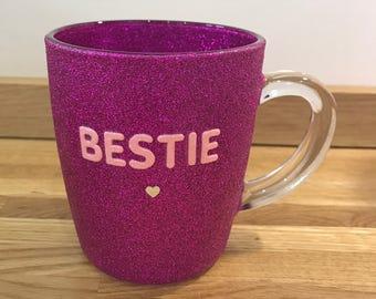 Beautiful bestie glitter glass mug gift present best friend