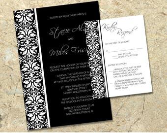 DIY black damask Wedding Invitation and RSVP printable Set