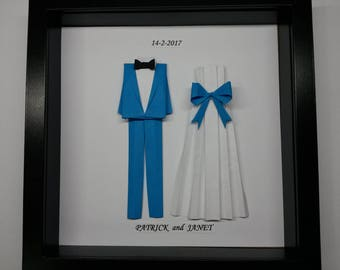 Personalized Wedding Gift - Origami Suit For 1st Anniversary, Wedding Or Unique Personalized Gift.