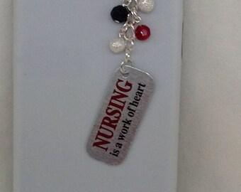Nurse Cellphone Charm. Iphone charm, dust plug charm, headphone plug charm, iPad charm, phone assessories.
