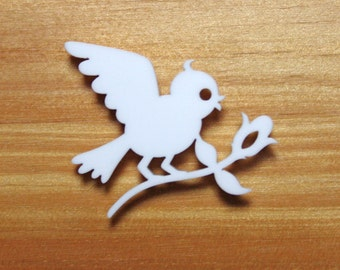 Laser Cut Acrylic Brooch Bird Bringing Flower - Red or White or black SALE