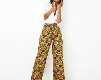African Print Trousers; Ankara Long Trousers; Long African Trousers; African Trousers; Wide Leg Ankara Trousers