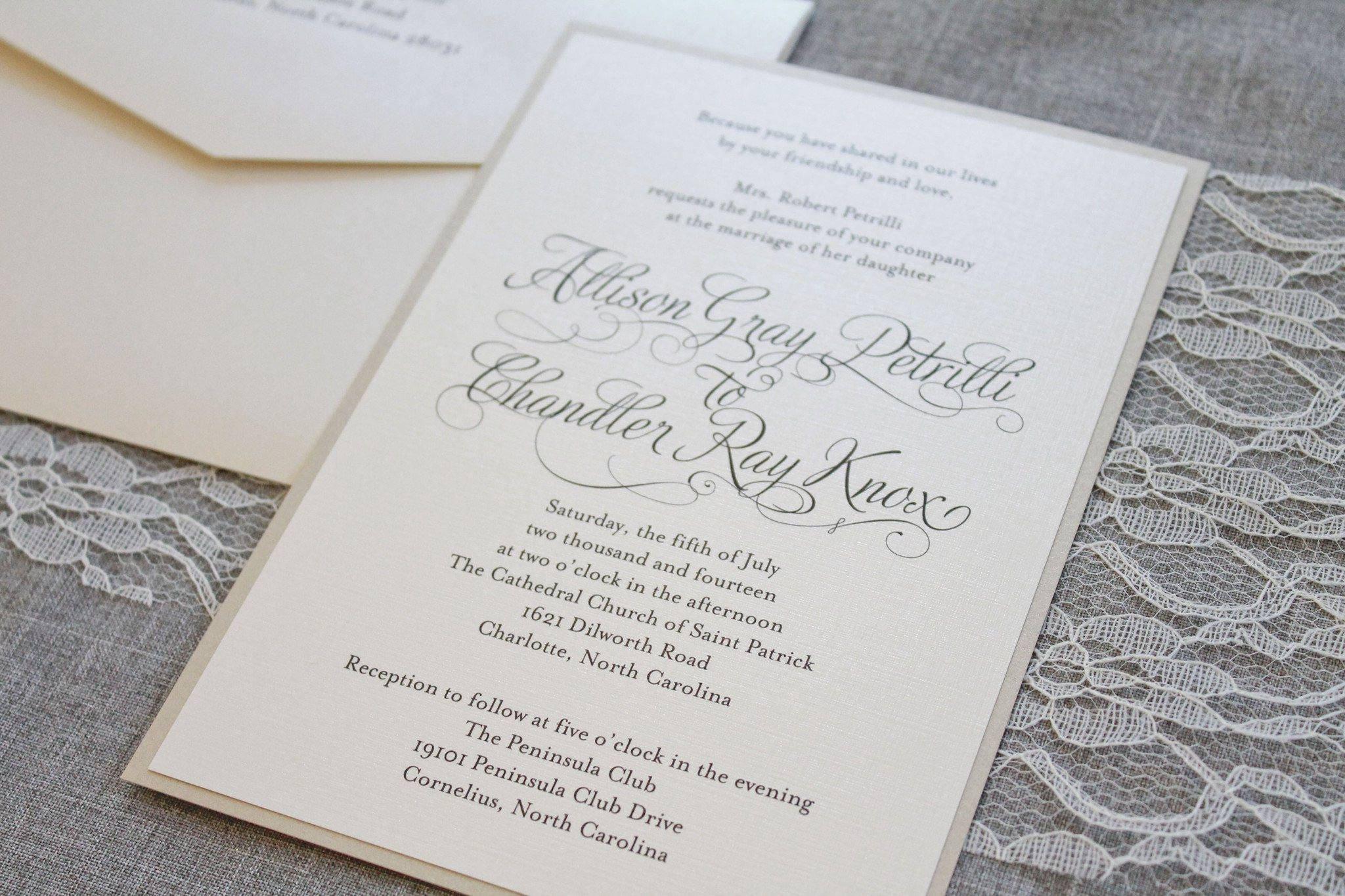 Ivory Wedding Invitations: Ivory Wedding Invitations Gold Formal Wedding Ceremony