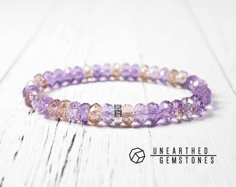 Ametrine Bracelet - Healing Crystals and Stones, Faceted Crystal Bracelet, Ametrine Jewelry, Faceted Gemstone Bracelet