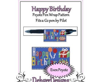 Peyote Beading Pattern (Pen Wrap/Cover)-Happy Birthday