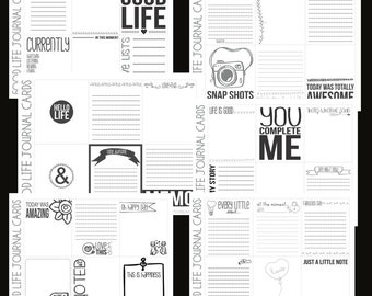 Digital journal cards printable, scrapbooking journaling note cards, Project life inspired