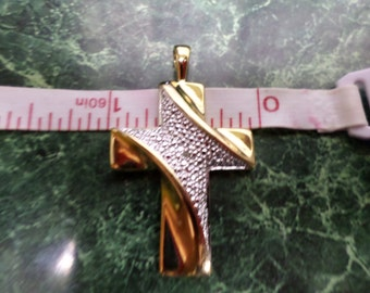 Sterling Silver cross gold overlay 925 Estate find