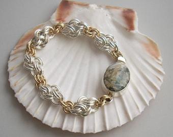 Bracelet: Jasper Box Clasp & Argentium Sterling Handmade Chainmaille Bracelet