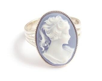 Viktorianische Cameo ring elegante schöne Blue Lady - gotische Eleganz