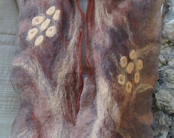 Nuno felt scarf- Chocolate Flowers-hand made OOAK
