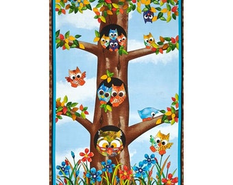 """Quilting Treasures - Owl in the Family - Panel - 24"""" x 44"""""""