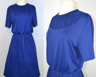 1970s Navy Blue House Blouson, Ribbed Collar/Bib Dress by Lady Blair