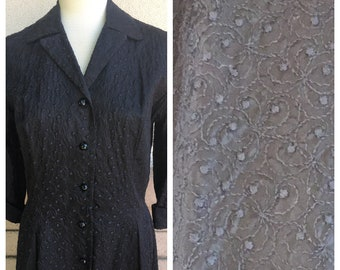 Vintage 40s Dress Black Embroidered Collared Button Up Dress Old Hollywood Size Large Sergee of California