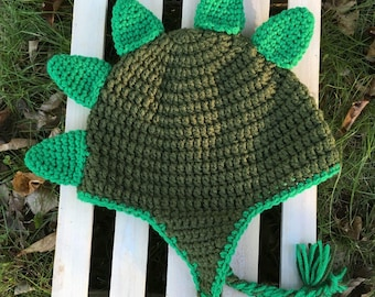 Olive Green Handmade Crochet Dino Hat with Bright Green Spikes Infant Toddler Child Teen Adult