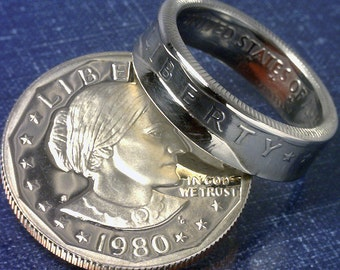 COIN RING JEWELRY (Susan B Anthony Dollar) (Obverse) (Choose The Year and Ring Size You Want)