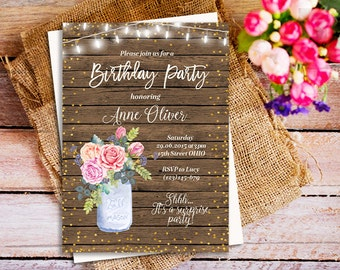 Mason jar Rustic birthday party invite, Rustic birthday party invitation, Outdoors Birthday Party Invite, Adult Birthday Party Invitations,