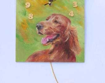 IRISH RED SETTER Dog Painted clock Funny Wall Clock with heart Original oil painting, Hand painted Pet portrait Unique Wall decor