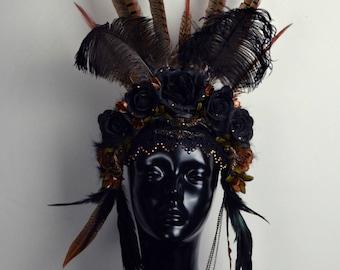 Dark fall flower headdress