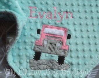 Personalized baby blanket minky - baby girl jeep arrows - custom baby blanket - baby shower gift - monogrammed name baby blanket embroidery