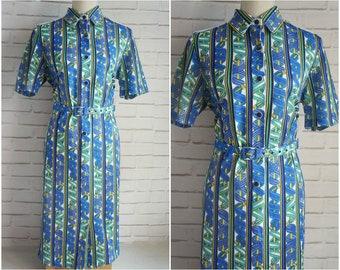 Vintage Shirt Dress - 80s large size Belted dress.