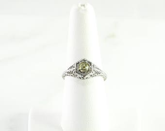 Antique Sterling Filigree Ring Yellow Stone Size 7 3/4