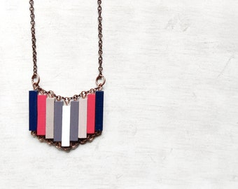 Wood Geometric Necklace // NAUTICAL // Minimal Jewelry //  Blue // White / Red / Marine / Lavander / Hand-Painted Necklace / Modern Necklace