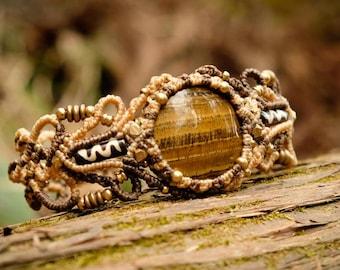 Abalonka, Bracelet, Talisman, Macrame, Tiger-eye