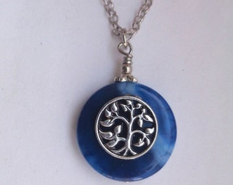 Blue Necklace, Dragon Vein Agate Necklace, Agate Necklace, Tree of life Necklace