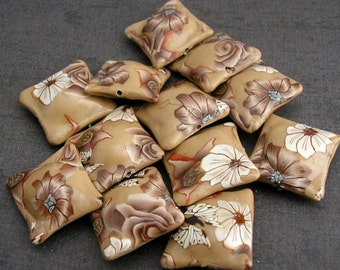 Light Brown Flower Beads, Neutral Tones, Polymer Clay Pillow Beads Dozen, 12 Pieces - Made to Order