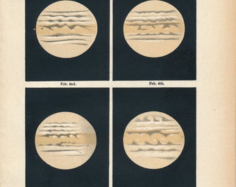 1911 Jupiter Antique Astronomy print