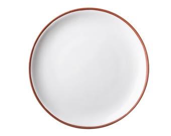 Large Handmade Terracotta Ceramic Plate,  White, Grey