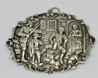 Dutch Pub scene pendant. Silver Hallmarked in the Netherlands