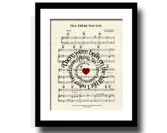 Till There Was You Song Lyric Sheet Music Art Print, The Music Man, Custom Wedding Gift, Names & Date, Music Art