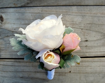 BLUSH PINK and IVORY Buttonhole Wedding Boutonniere for Grooms made with artificial silk peony, roses and dusty miller rustic vintage