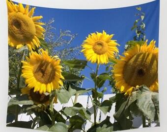 Sunflower Tapestry, Flower Tapestry, Nature Tapestry, Sunflower Wall Hanging, Flower Wall Hanging, Dorm Decor, College Decor, Happy Decor