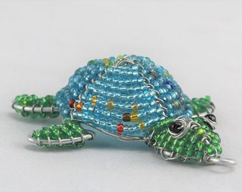 Handmade Beaded Turtle Keychain