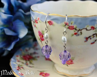 Purple Faceted Bead with Pearl Drop Earrings