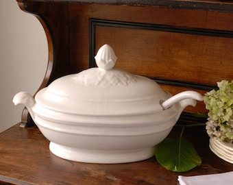 Large Belgian Ironstone Tureen with ladle. Off-white. Soupière. Creamware.