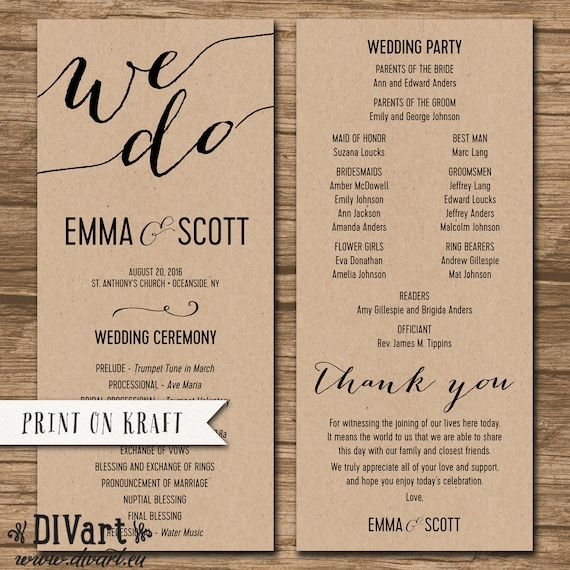 Wedding program ceremony order order of events junglespirit Choice Image