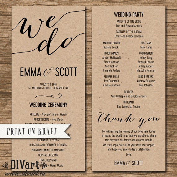 wedding program ceremony order order of events