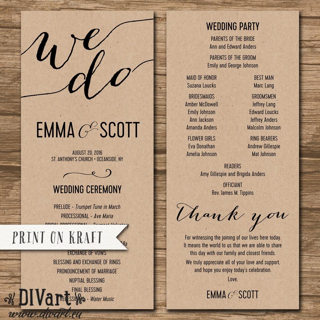 wedding program size
