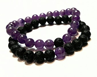 long distance relationship bracelet boyfriend girlfriend jewelry his and hers couples set  amethyst & lava black purple