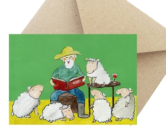 "Greeting Card Birthday Gift ""Reading hour"""