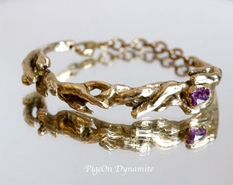 "Raw Garnet ""Bonfire"" Statement Cuff Style Bracelet-Garnet Bracelet-Branch Bracelet-Chunky Bracelet-Statement Cuff Bracelet-One of a kind"